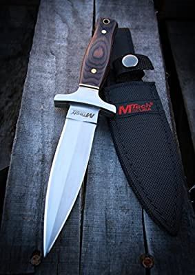 MTECH USA MT-20-03 Fixed Blade Knife, Titanium Double Edge Blade, Pakkawood Handle, 9-Inch Overall