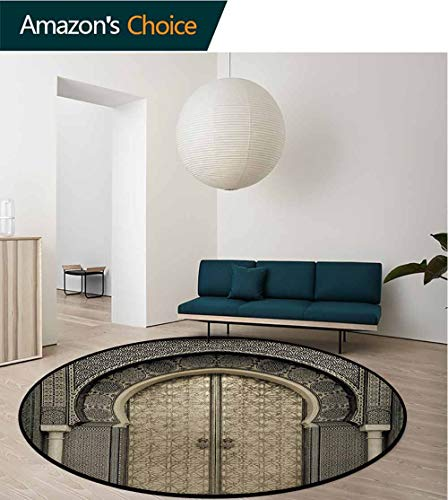 - RUGSMAT Moroccan Round Kids Rugs,Aged Gate Geometric Pattern Doorway Design Entrance Architectural Oriental Style Non Skid Nursery Kids Area Rug for Bedroom Machine Washable,Round-31 Inch