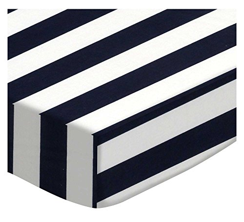SheetWorld Fitted Portable Mini Crib Sheet - Navy Stripe - Made in USA by SHEETWORLD.COM