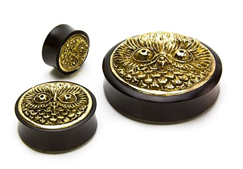 Elementals Organics Areng Wood Ear Plug -Ear Gauge with Brass Owl Cap Inlay, 12mm, 15/32 Inch, Price Per 1 Earring (Sonos 1 Best Price)