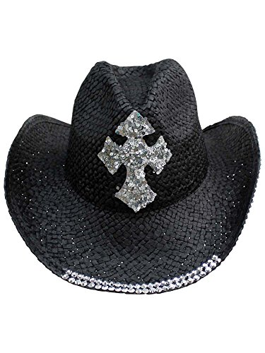 Black Straw Cowboy Hat with Sequin -