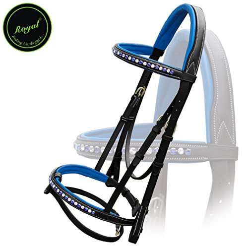 Royal Alternate White & Dark Blue Diamond Bridle With Reins./ Vegetable Tanned Leather./ Brass Buckles.