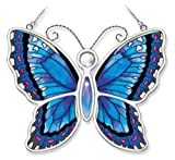 Amia Blue Morpho Butterfly Hand-Painted on Glass, 6-1/2 by 5-1/4-Inch