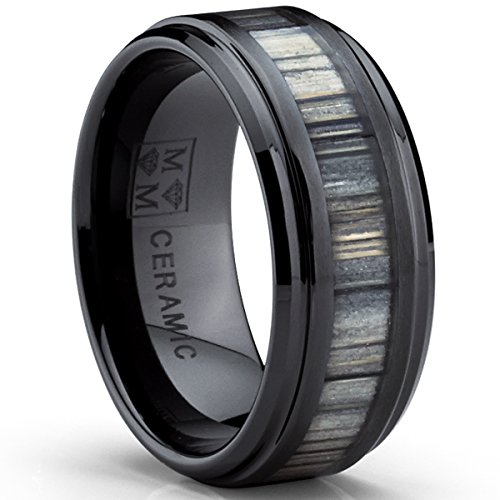 Black Ceramic Wedding Band Ring with Real Zebra Wood Inlay, 9MM Comfort Fit, Size 10 Ceramic Wedding Band Ring