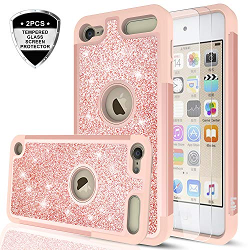iPod Touch 7 Case, iPod Touch 6 Case, iPod Touch 5 Case with Tempered Glass Screen Protector [2 Pack] for Girls Women,LeYi Glitter Bling Phone Case for iPod Touch 7th/ 6th/ 5th Generation TP Rose Gold (Ipod Touch 32 Pink)