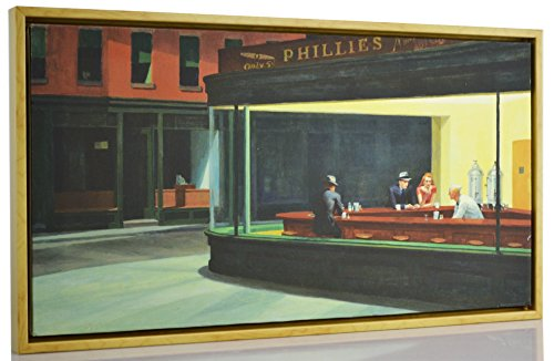 Berkin Arts FRAMED Edward Hopper Giclee Canvas Print Paintings Poster Reproduction Fine Art Home Decor (Night Hawks)