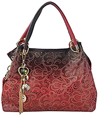 Tinksky Tote Handbag Womens Shoulder Bag Casual Signature Printing Pu Leather Tote
