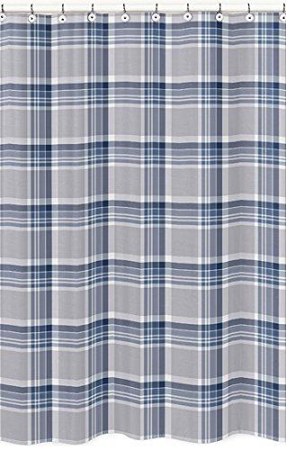 Sweet Jojo Designs Navy Blue And Gray Plaid Rustic Kids Bathroom Fabric Bath Shower Curtain