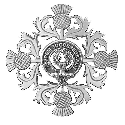 - Ross Clan Crest Scottish Thistle Brooch