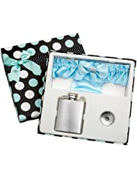 Investment 3oz Blue Garter Belt Hip Flask with Gift Box for Weddings, Free Engraving! offer
