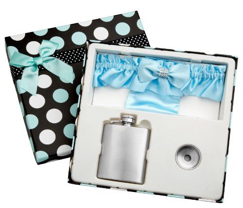 (3oz Blue Garter Belt Hip Flask with Gift Box for Weddings, Free)