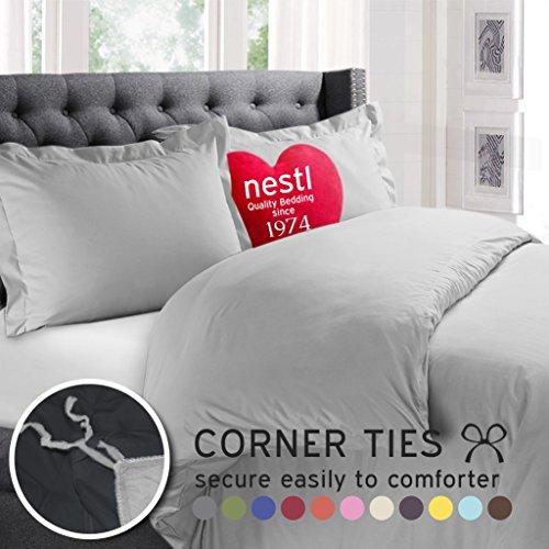 Nestl Bedding Microfiber Twin 2 Piece Duvet Cover Set - Light Gray (Solid Gray Bedding Sets)