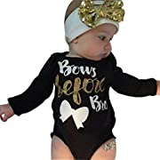 Baby Clothes, Egmy Cute 2Pcs Newborn Baby Girl Letter Long Sleeve Romper+Headband Outfits Clothes (Size:3M)