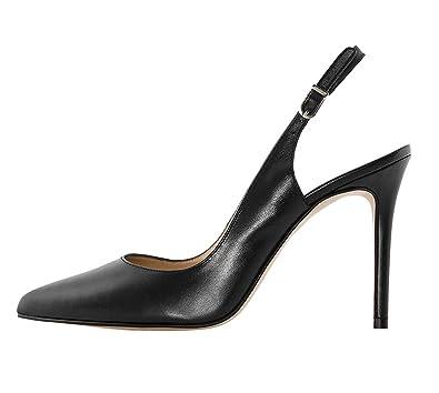 EKS Damen Elegante Spitzschuh Dünne Fersen Slingback Matte Dress Court Schuhe Schwarz 42EU s4E8LuMotT