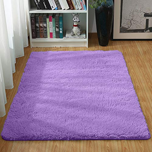 Junovo Ultra Soft Contemporary Fluffy Thick Indoor Area Rug Home Decor Living Room Bedroom Kitchen Dormitory,4' x 5.3',Purple