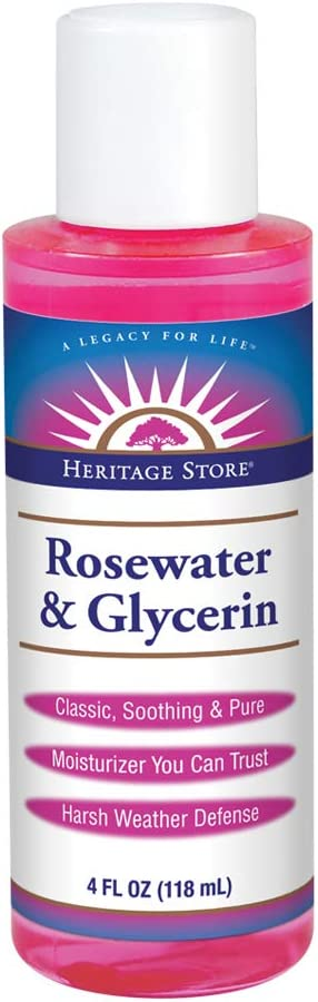 Heritage Store Rosewater & Glycerin | Hydrating Formula for Skin & Hair | No Dyes or Alcohol, Vegan & Cruelty Free | 4oz