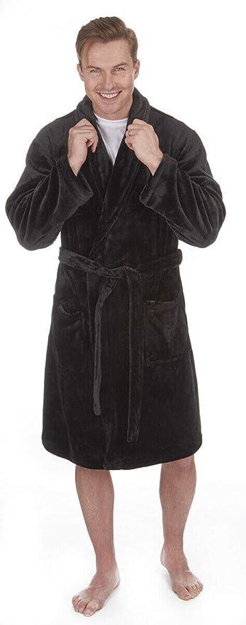 Mens Luxury Flannel Fleece Dressing Gown Bath Robe Shawl Collar Plus Size M-5XL