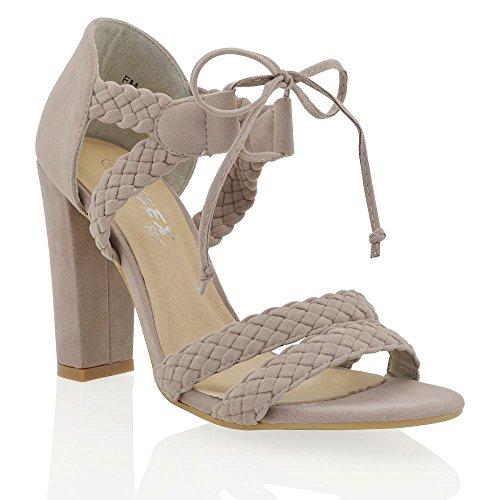 ESSEX GLAM Gamuza Sintética Zapatos de antelina con tacón alto cuadrado, tiras y cordones Gris Gamuza Sintética