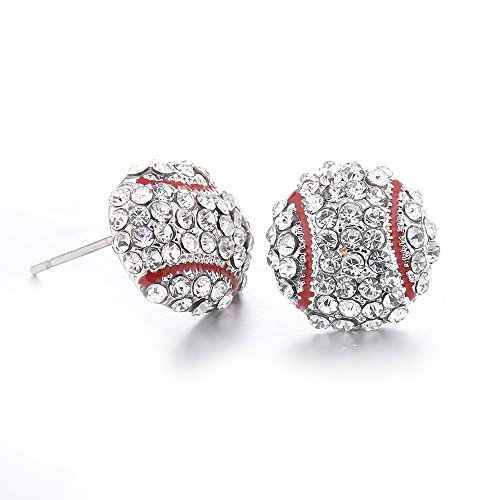 Lureme Fashion Crystal Rhinestone Post Silver Stud Bling Baseball Earrings (er005453-3)