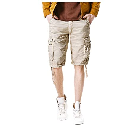 fe5503c239 Image Unavailable. Image not available for. Color: Men's Cargo Shorts Pants  Cotton Casual Summer Multi-Pockets Zipper Solid ...