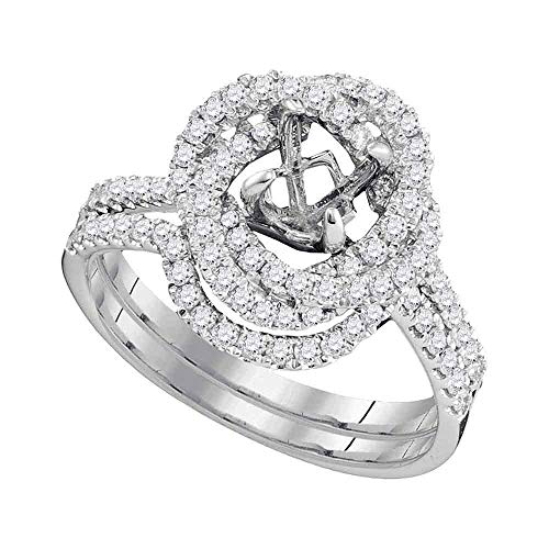(Mia Diamonds 18kt White Gold Womens Round Diamond Semi-Mount Wedding Bridal Ring Band Set (.61cttw) (SI3)- Size -7)
