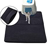 Cat Litter Trapping Mat, KOBWA Double Layer Litter Trapper Mat, Cat Pad Detachable Waterproof Litter Mat Litter and Non-Slip for Cats Litter Catching & Scatter Control