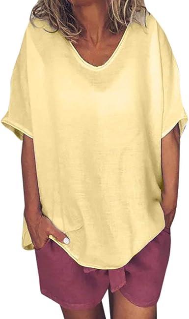 Camisa Mujer Algodón y Lino Cuello Redondo Sólida Casual Camiseta ...