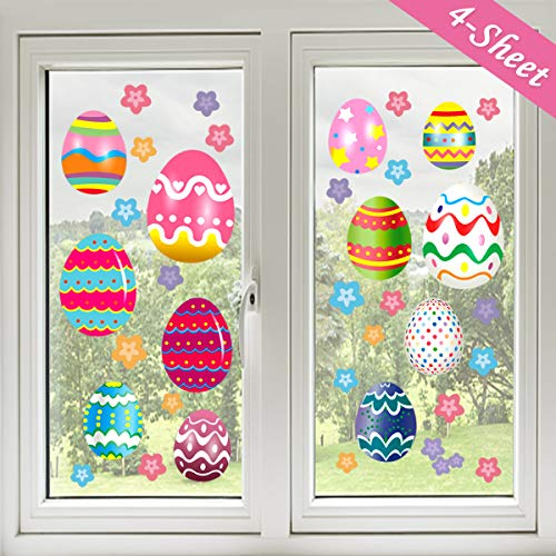 Conthfut Easter decoration Stickers, 43PCS Easter Egg Bunny Window Clings Easter Party Supplies Removable PVC Fridge wall doors Stickers for School Home office -4 Large -