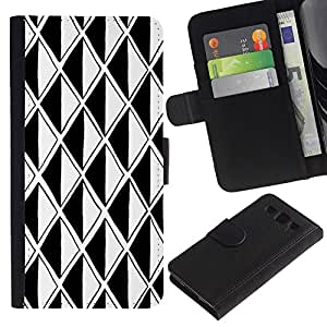 SAMSUNG Galaxy S3 III / i9300 / i747 Modelo colorido cuero carpeta tirón caso cubierta piel Holster Funda protección - Black White Polygon Illusion Optical