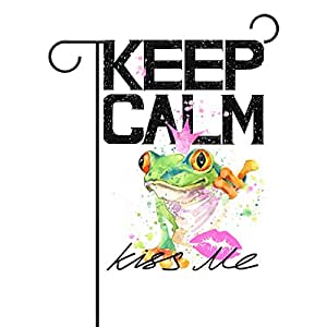 Duble Sided Cute Frog Prince Keep Calm and Kiss Me Watercolor Polyester Garden Flag Banner 12 x 18 Inch for Outdoor Home Garden Flower Pot Decor