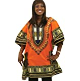 "King-Sized Traditional Print Unisex Dashiki Top - Up to 68"" Chest - Available in Several Colors, 2X Orange"