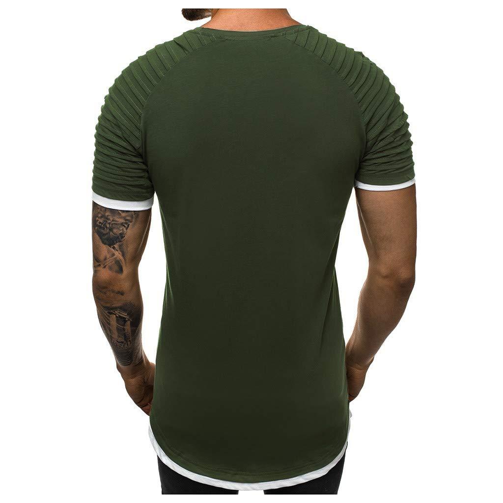 MensFake Two Piece Pleats Gradient Pattern Casual Lapel Short Sleeve Shirt T-Shirt Mote Mens Clothes