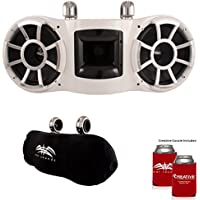 Wet Sounds REV 410 Swivel Clamp Tower Speakers with Suitz speaker Covers - WHITE