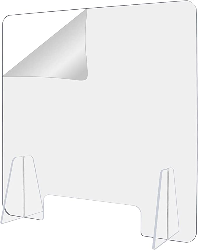 Asgens 60x80cm Protective Sneeze Guard Acrylic Plexiglass Countertop Display Free-Standing Counter Shield Used In The Public Place