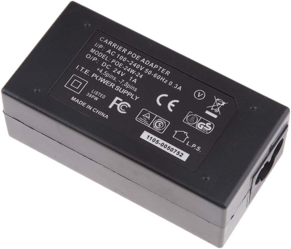 Baoblaze Adaptador de Teléfono para Cámara Ethernet Inyector de Fuente de Alimentación PoE 24V 1A