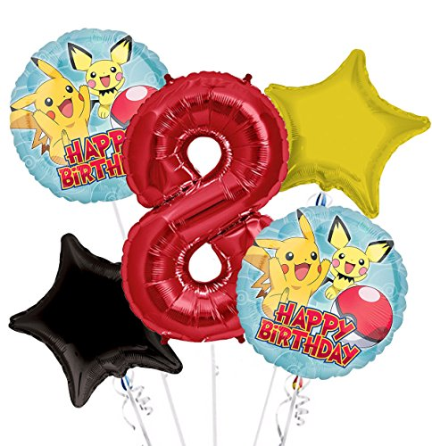 Pokemon Pikachu Happy Birthday Balloon Bouquet 8th Birthday 5 pcs - Party Supplies -