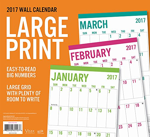 2017 Monthly Wall Calendar   Large Print