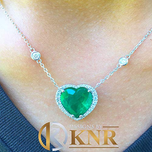 Large 14k solid white gold heart shape simulated emerald and round cut simulated diamonds necklace pendent and chain bridal gift 5.70ctw (Necklace White Engagement)