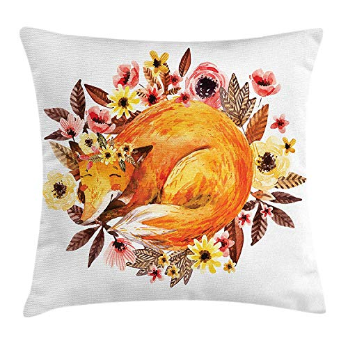 (lsrIYzy Printawe Floral Throw Pillow Cushion Cover, Sleeping Fox in Flower Bouquet Rose Tulip Daisy Blossom Watercolor, Decorative Square Accent Pillow Case, 18 X 18 inches, Orange Brown Yellow Coral)