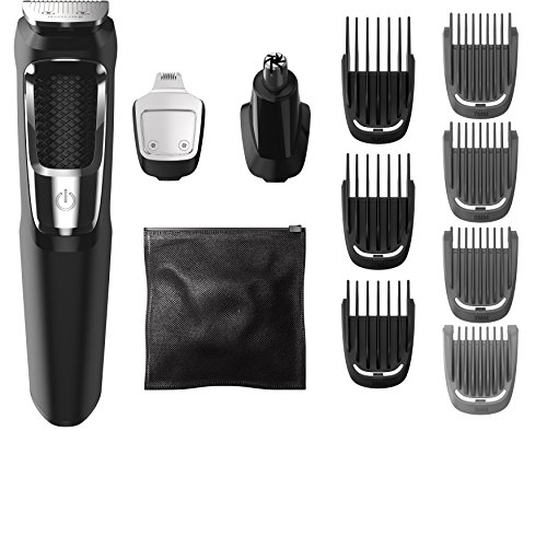 Electric Mens Razor - Philips Norelco Multigroom Series 3000, MG3750/50, Beard Face and Body Hair Trimmer for Men, 13 Attachments - NO BLADE OIL NEEDED