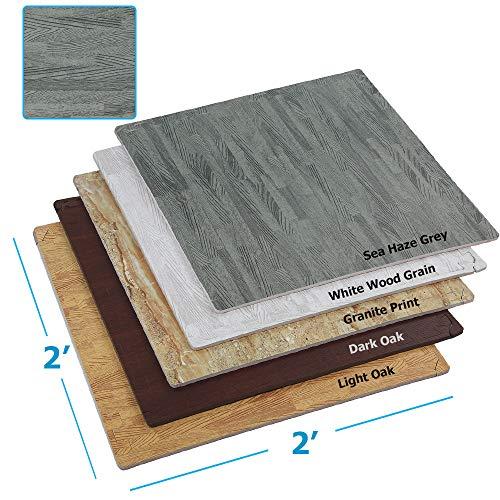 Clevr 100 Sq. Ft (10' x 10') EVA Interlocking Foam Mats Flooring, Grey Wood Grain Style - (24