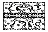 Indoor/Outdoor Rug Ethnic African Aztec Dance with Geometrical Borders Triangles Round Swirls Art Black and White Easy Clean Resistant 4'7'' x5'4