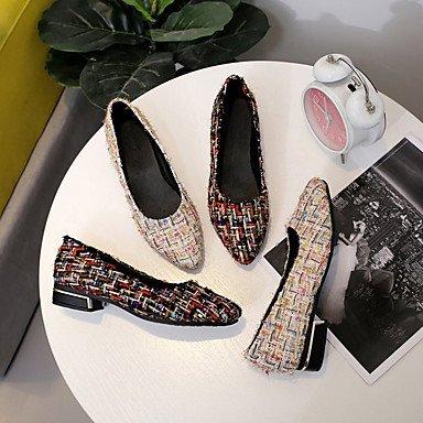 mujer aire libre SHUAI Otoño Zapatos para El Zapatos taco para Primavera Goma Blanco mejor Negro Confort Tacón eu36 amp;shoes y de Slip madre y regalo Mujer Al us6 bajo cn36 uk4 Cuadrado On XxFXq4