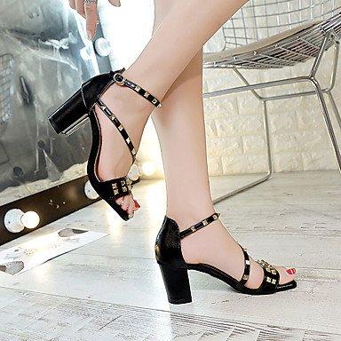 LvYuan Mujer Sandalias PU Verano Vestido Remache Hebilla Tacón Robusto Negro Almendra Morrón Oscuro 2'5 - 4'5 cms Black