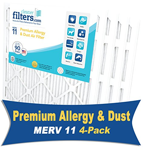 Cleaner Filters 16x25x1 Air Filter, Pleated High Efficiency Allergy Furnace Filters for Home or Office with MERV 11 Rating (4 Pack)