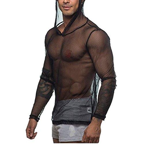 YiZYiF Men's See Through Fishnet Clubwear Short Sleeve T-Shirt Undershirt (Large, Hoodie -