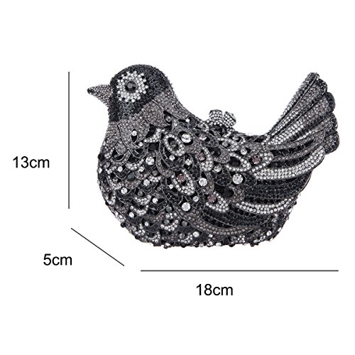 Blue Clutch Rhinestone Evening Glitter Black Bird Girls Purses For Bonjanvye Bag 1qzZROnT