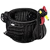 Saleen Handcrafted Woven Chicken Egg Storage Basket in Black