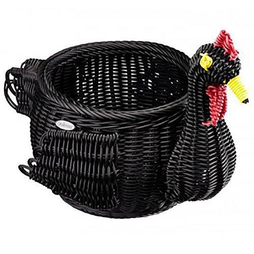 Saleen Handcrafted Woven Chicken Egg Storage Basket in Black