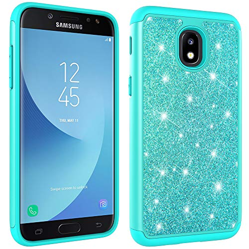 Galaxy J3 Achieve Case,Galaxy J3 2018/J3 Star/Express Prime 3/Amp Prime 3 Glitter Case,Luxury Glitter Sparkle Bling Case,Hybrid PC Silicone Faux Leather Cover,Dual Layer Armor Phone Case Mint